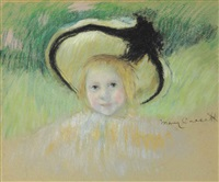girl in a hat with a black ribbon by mary cassatt