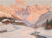 winterabend am rosengarten (dolomiten) by erwin kettemann
