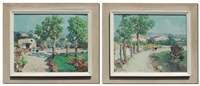 pastoral italian landscapes with figures and villages (2 works) by andrea fortini