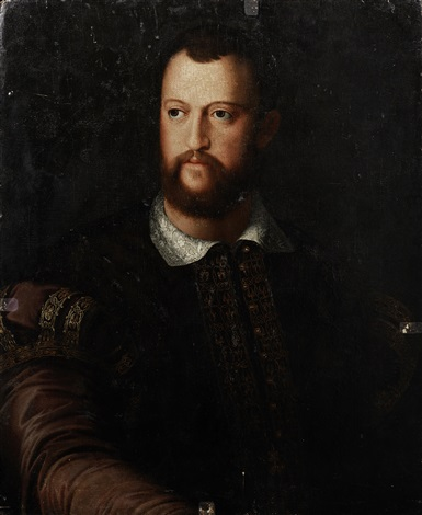 portrait of cosimo de medici 1519 1594 half length in a burgundy embroidered coat by agnolo bronzino