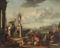 an italianate harbor with an elegant couple promenading near a statue of neptune, and workmen unloading the docks by johannes lingelbach