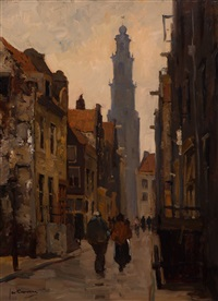 view of the westertoren seen from the eerste leliedwarsstraat, amsterdam by jan korthals