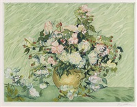 les roses (etched by jacques villon) by vincent van gogh