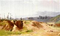 paisaje montañoso con figuras by juan baixas-garrate