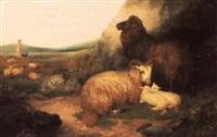 sheep in an open landscape, the shepherd beyond by g. watson