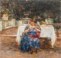 donna seduta tra i fiori by luca postiglione