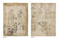 figures (study) (+ temple, helmets, urns and a scroll design, st. john the baptist, and a mother and child (study), verso) by vincenzo di benedetto tamagni