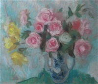 roses in a blue and white vase by lena alexander