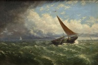 fishing boat at sea (+ harbor scene; 2 works) by richard short