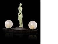 ondine lumineuse figural twin-lamp by pierre le faguays