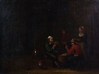 les joueurs de cartes et les buveurs (pair) by egbert van heemskerck the elder