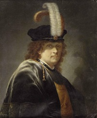 herr mit federbarett (in the style of govert flinck) by joseph kaltner