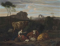 a shepherdess and her flock seated in a landscape, ruins beyond by dirk van bergen