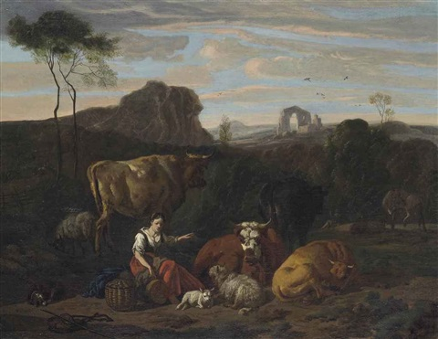 a shepherdess and her flock seated in a landscape ruins beyond by dirk van bergen