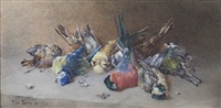 still life with dead bull finch, blue finch & coal tit by rose maynard barton