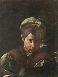 portrait of a boy, bust-length, in a brown waistcoat with a white cap by pier francesco mola