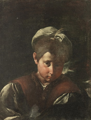 portrait of a boy bust length in a brown waistcoat with a white cap by pier francesco mola