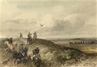 a royal hunting party: queen emma on a falcon hunt by charles rochussen