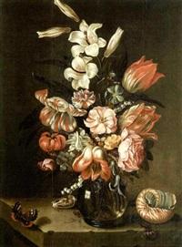 bouquet de fleurs et coquillage sur un entablement by jan baptist fornenburgh
