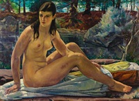 seated nude in a landscape by leon kroll