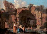 femmes au bain dans des ruines romaines by daniel vertangen