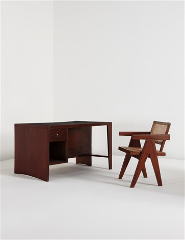 office desk and chair (2 works) by pierre jeanneret