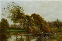 cows watering by a river by george vicat cole