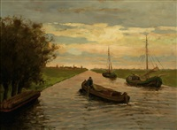 a view of a canal by charles dankmeijer