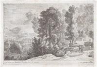 reisende auf der straße links eines flusses (+ landschaft mit wäscherinnen; 2 works) by herman van swanevelt