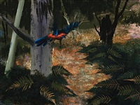 parrot in flight by albert lee tucker