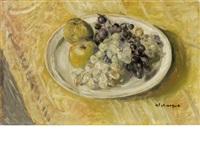 nature morte aux raisins et pommes by henri lebasque