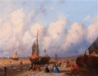 figures and bomschuiten on the beach at scheveningen (+ another; 2 works) by joseph bles