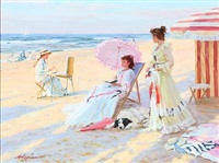 scene from the normandy coast with girls on the beach by aleksandr averin
