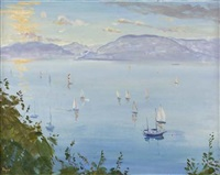 summer boats, gourock by norman edgar