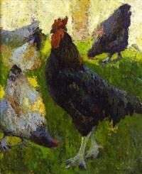 coq et poules by marcel couchaux