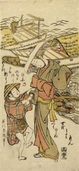 a young boy and a woman (hosoban benzuri-e) by ishikawa (nishimura shigenobu) toyonobu
