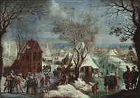 a winter landscape with elegant figures in carnival costume by adam van breen