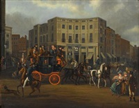 the brighton-london royal mail coach passing regent circus by james pollard