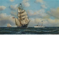 the clipper herald and pilot boat new york by antonio jacobsen