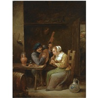 a couple in an inn making music, a woman listening in the doorway by pieter fontijn