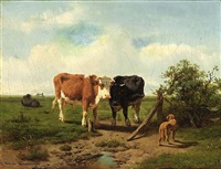 three cows and a dog in a meadow by arie ketting de koningh