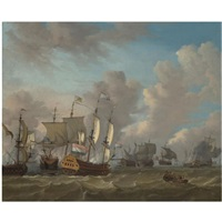dutch ships in a naval skirmish by johannes storck