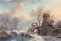 winter landscape with figures on the ice by frederik marinus kruseman