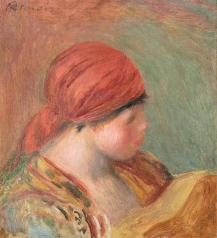 jeune femme au fichu étude pour la femme à la guitare study by pierre auguste renoir