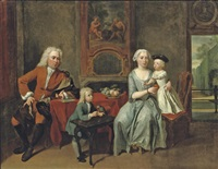 a family portrait of a gentleman, his wife handing an apple to the daughter and their son feeding a parrot by cornelis troost