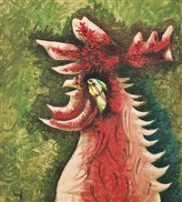 bestiaire: coq vert (grand ubu) by jean lurçat