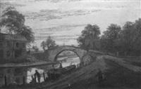 canal scene at dusk by albert dunnington