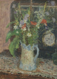wild flowers in a jug by edward le bas