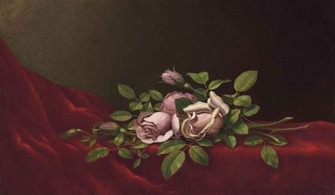 pink roses on a red cloth by martin johnson heade