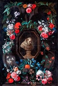 virágfüzér nicasius janssens van heeze portréjával by david teniers the younger and wouter gysaerts